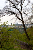 Skyline Luxembourg city center. The skyline of the old town of Luxembourg city center with a tree and park in front Stock Photos