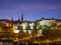 Skyline Luxembourg City At Night. Skyline of Luxembourg City's upper City (Haute Ville in French) At Night Stock Image