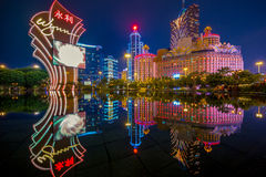 Skyline of macau by the water Royalty Free Stock Images