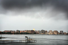Skyline of Madison Wisconsin during a thunderstorm Stock Image