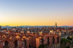 Skyline of Madrid at sunset royalty free stock photos