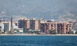 Skyline of Malaga, Spain. Waterside buildings in Malaga, Andalusia Spain Stock Photos