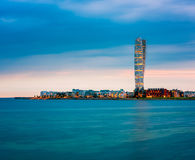 Skyline of Malmo Sweden with Famous Turning Torso Building. Captured around sunset Royalty Free Stock Image