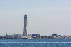 Skyline of Malmo with Turning Torso. Skyline of Swedens third largest city, Malmoe (Swedish: Malmö). Among the new buildings towers were the Turning Torso, a Royalty Free Stock Image