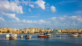 Skyline of Malta with yachts and boats and blue sky - Malta. Skyline of Malta with yachts and boats and blue sky at Malta Stock Photo