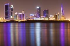 Skyline of Manama City at night Royalty Free Stock Photos