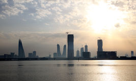 Skyline of Manama at sunset, Bahrain Stock Image