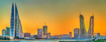 Skyline of Manama at sunset. The Kingdom of Bahrain. Skyline of Manama at sunset. The capital of Bahrain Royalty Free Stock Photos