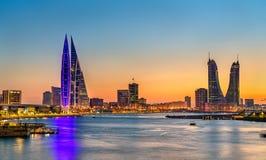Skyline of Manama at sunset. The Kingdom of Bahrain. Skyline of Manama at sunset. The capital of Bahrain Royalty Free Stock Photo