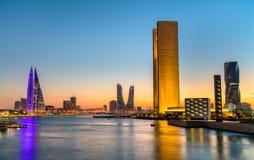 Skyline of Manama at sunset. The Kingdom of Bahrain. Skyline of Manama at sunset. The capital of Bahrain Stock Photo