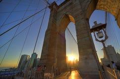 Skyline manhattan. The skyline of manhattan new york vieuw from brooklyn bridge at sunset Royalty Free Stock Photo