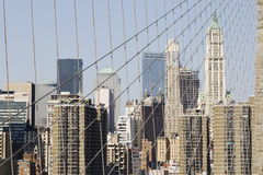 Skyline Manhattan from Brooklyn Bridge Royalty Free Stock Photos