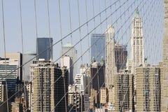Skyline Manhattan from Brooklyn Bridge royalty free stock photos