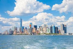 Skyline of Manhattan New York City. Wide angle view. Beautiful city view with tall buildings royalty free stock photos