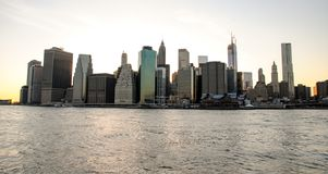 Skyline of Manhattan at sunset, closed to night. Nice view since Brooklyn. At dawn royalty free stock photography