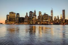 Breathtaking view of skyline of Manhattan at sunset, closed to night. Nice view since Brooklyn royalty free stock photo