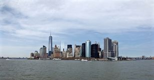 Skyline of Manhattan from a waterview Stock Image