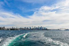 Skyline from the Manly Ferry in Sydney, Australia Royalty Free Stock Image