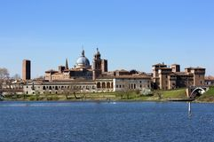 Skyline of Mantova in a sunny day Royalty Free Stock Images