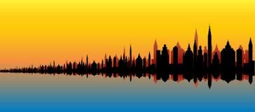 Skyline marítima da cidade Fotos de Stock Royalty Free