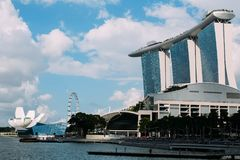 Skyline at Marina Bay in the Singapore center. stock image
