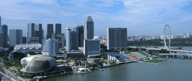 Skyline at Marina Bay South. Singapore July 2016 -  View of the skyline at Marina Bay South with the Esplanade in the foreground Royalty Free Stock Photography