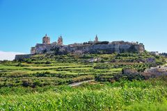 Skyline of Mdina with St Paul Cathedral. Malta Island Royalty Free Stock Photos