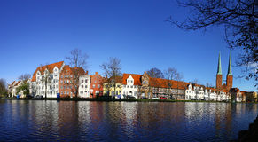 Skyline of the medieval city of Lubeck, Germany. Panoramic skyline of the medieval city of Lubeck, Germany Royalty Free Stock Photo