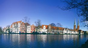 Skyline of the medieval city of Lubeck, Germany Royalty Free Stock Images