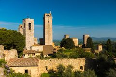 Skyline of the medieval towers of San Gimignano, famous town in Tuscany Royalty Free Stock Images