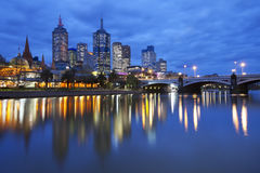 Skyline of Melbourne, Australia at night Royalty Free Stock Photography