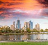 Skyline of Melbourne at dusk time, Australia Stock Image