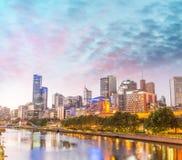 Skyline of Melbourne at dusk time, Australia Royalty Free Stock Images
