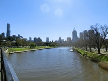 The skyline of Melbourne near Yarra River and Botanic Gardens, in Melbourne, Victoria, Australia royalty free stock image