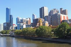 Modern skyline and business center of Melbourne and the Yarra river,Australia Stock Photography