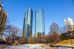 Skyline with the 155 meter high twin towers Deutsche Bank I and stock image
