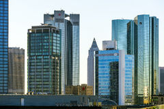 Skyline with the 155 meter high twin towers Deutsche Bank I and Royalty Free Stock Images