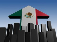 Skyline and Mexican flag arrow Stock Photography