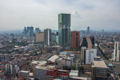Skyline in Mexico City, aerial view of the city stock photos