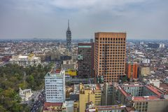 Skyline in Mexico City, aerial view of the city royalty free stock photography