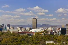 Skyline of Mexico City, Mexico with Mountains royalty free stock image