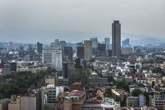 Skyline in Mexico City, Reforma aerial view at sunset time stock photos