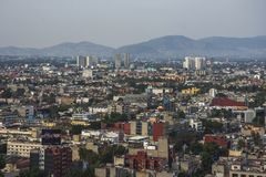 Skyline in Mexico City, Reforma aerial view at sunset time stock image
