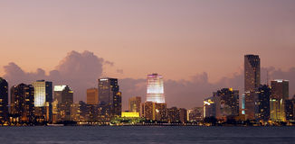 The skyline of Miami in Florida Stock Photography
