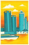 Skyline of Miami, Florida in a Retro-Modern Style vector illustration