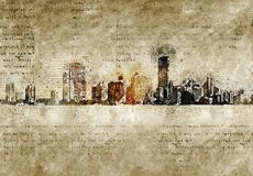 Skyline of miami in modern and abstract vintage look. Artprint Royalty Free Stock Photo