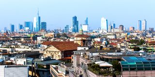 Skyline of Milan, in Italy. Cityscape of Milan in Italy, with the skyline of the skyscrapers Royalty Free Stock Image