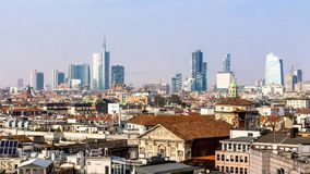 Skyline of Milan, in Italy Royalty Free Stock Photos
