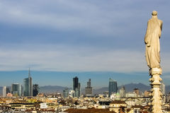 Skyline of Milan. Skyline of Porta Nuova area in Milan, seen from the roof of the cathedral Stock Photos
