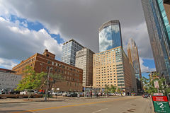 The skyline of Minneapolis, Minnesota along S Marquette Avenue Royalty Free Stock Image